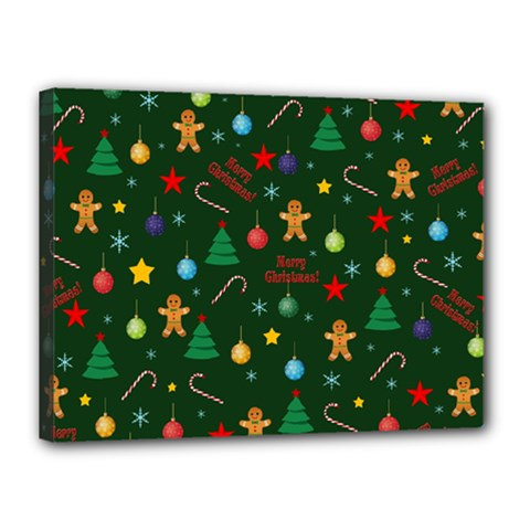Christmas Pattern Canvas 16  X 12  by Valentinaart