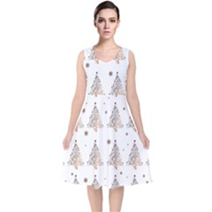 Christmas Tree   Pattern V Neck Midi Sleeveless Dress