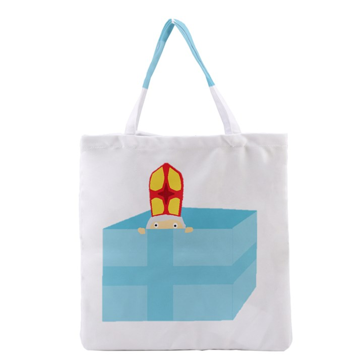 Funny Cute Kids Art St.Nicholas St. Nick Sinterklaas hiding in a Gift Box Grocery Tote Bag