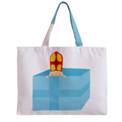 Funny Cute Kids Art St Nicholas St  Nick Sinterklaas Hiding In A Gift Box Zipper Mini Tote Bag by yoursparklingshop