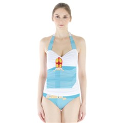 Funny Cute Kids Art St Nicholas St  Nick Sinterklaas Hiding In A Gift Box Halter Swimsuit by yoursparklingshop
