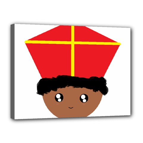 Cutieful Kids Art Funny Zwarte Piet Friend Of St  Nicholas Wearing His Miter Canvas 16  X 12  by yoursparklingshop