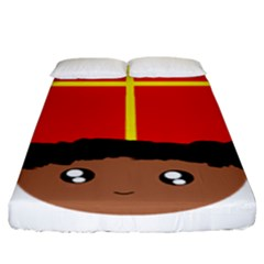 Cutieful Kids Art Funny Zwarte Piet Friend Of St  Nicholas Wearing His Miter Fitted Sheet (king Size) by yoursparklingshop