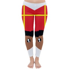 Cutieful Kids Art Funny Zwarte Piet Friend Of St  Nicholas Wearing His Miter Classic Winter Leggings by yoursparklingshop