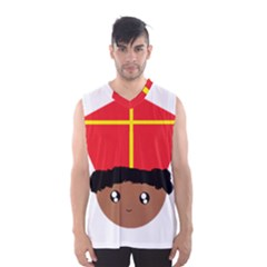 Cutieful Kids Art Funny Zwarte Piet Friend Of St  Nicholas Wearing His Miter Men s Basketball Tank Top by yoursparklingshop