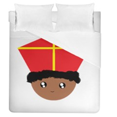Cutieful Kids Art Funny Zwarte Piet Friend Of St  Nicholas Wearing His Miter Duvet Cover (queen Size) by yoursparklingshop