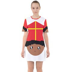 Cutieful Kids Art Funny Zwarte Piet Friend Of St  Nicholas Wearing His Miter Sixties Short Sleeve Mini Dress by yoursparklingshop