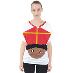 Cutieful Kids Art Funny Zwarte Piet Friend Of St  Nicholas Wearing His Miter V Neck Dolman Drape Top by yoursparklingshop