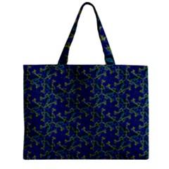 Whirligig Hand Drawing Geometric Pattern Blue Zipper Mini Tote Bag by Cveti