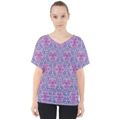 Star Tetrahedron Hand Drawing Pattern Purple V Neck Dolman Drape Top