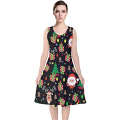 Santa And Rudolph Pattern V Neck Midi Sleeveless Dress