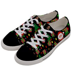 Santa And Rudolph Pattern Women s Low Top Canvas Sneakers by Valentinaart