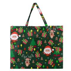 Santa And Rudolph Pattern Zipper Large Tote Bag by Valentinaart