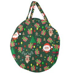 Santa And Rudolph Pattern Giant Round Zipper Tote by Valentinaart