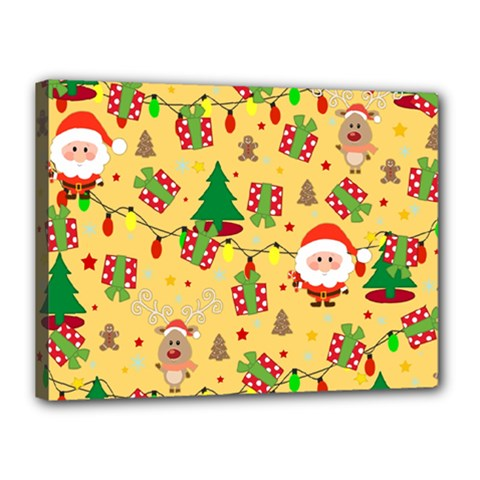 Santa And Rudolph Pattern Canvas 16  X 12  by Valentinaart