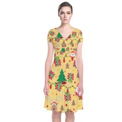 Santa And Rudolph Pattern Short Sleeve Front Wrap Dress