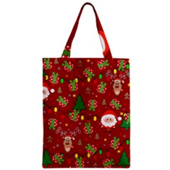 Santa And Rudolph Pattern Zipper Classic Tote Bag by Valentinaart