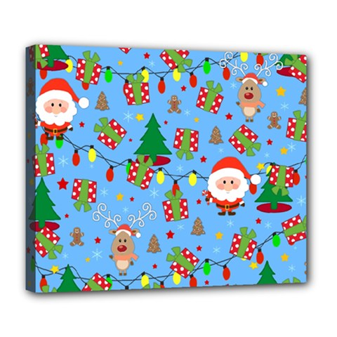 Santa And Rudolph Pattern Deluxe Canvas 24  X 20   by Valentinaart