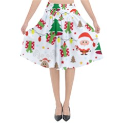 Santa And Rudolph Pattern Flared Midi Skirt by Valentinaart