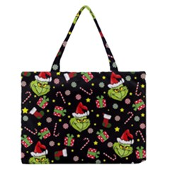 Grinch Pattern Zipper Medium Tote Bag by Valentinaart