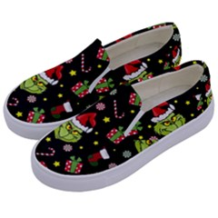 Grinch Pattern Kids  Canvas Slip Ons by Valentinaart