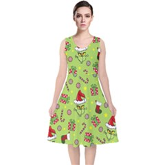 Grinch Pattern V Neck Midi Sleeveless Dress