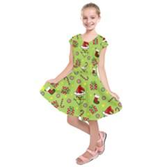 Grinch Pattern Kids  Short Sleeve Dress