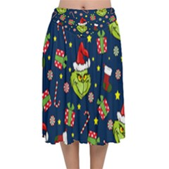 Grinch Pattern Velvet Flared Midi Skirt by Valentinaart