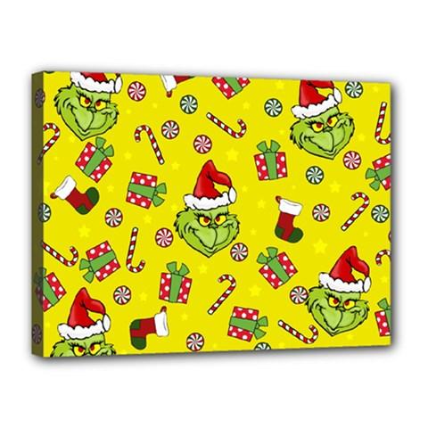 Grinch Pattern Canvas 16  X 12  by Valentinaart
