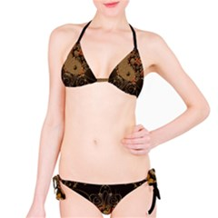 The Sign Ying And Yang With Floral Elements Bikini Set