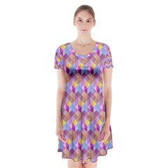Hexagon Cube Bee Cell Pink Pattern Short Sleeve V Neck Flare Dress