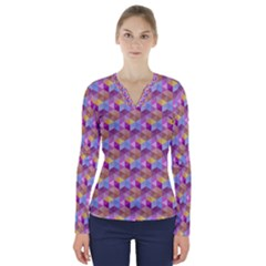 Hexagon Cube Bee Cell Pink Pattern V Neck Long Sleeve Top