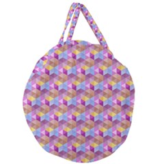 Hexagon Cube Bee Cell Pink Pattern Giant Round Zipper Tote
