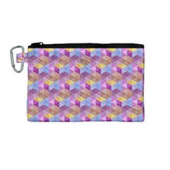Hexagon Cube Bee Cell Pink Pattern Canvas Cosmetic Bag (m)