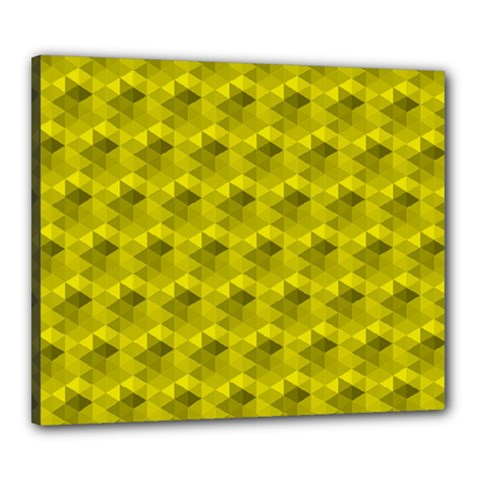 Hexagon Cube Bee Cell  Lemon Pattern Canvas 24  X 20  by Cveti