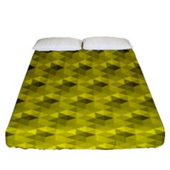 Hexagon Cube Bee Cell  Lemon Pattern Fitted Sheet (queen Size) by Cveti