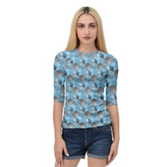 Hexagon Cube Bee Cell  Blue Pattern Quarter Sleeve Raglan Tee by Cveti