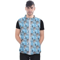 Hexagon Cube Bee Cell  Blue Pattern Men s Puffer Vest by Cveti