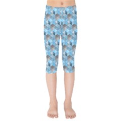 Hexagon Cube Bee Cell  Blue Pattern Kids  Capri Leggings  by Cveti