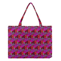 Hexagon Cube Bee Cell  Red Pattern Medium Tote Bag by Cveti