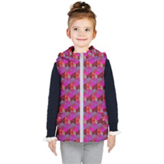 Hexagon Cube Bee Cell  Red Pattern Kid s Puffer Vest