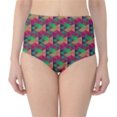 Hexagon Cube Bee Cell Pink Pattern High Waist Bikini Bottoms by Cveti