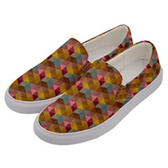 Hexagon Cube Bee Cell 2 Pattern Men s Canvas Slip Ons by Cveti