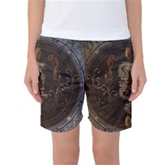 Golden Chinese Dragon On Vintage Background Women s Basketball Shorts by FantasyWorld7