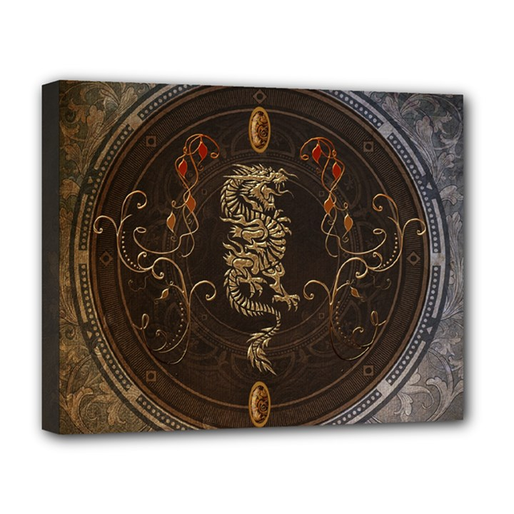 Golden Chinese Dragon On Vintage Background Deluxe Canvas 20  x 16