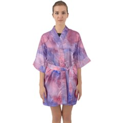 Mr  Hughes Blues Quarter Sleeve Kimono Robe