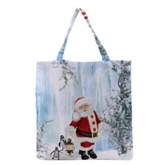 Santa Claus With Funny Penguin Grocery Tote Bag by FantasyWorld7