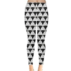 Diamond Pattern White Black Leggings  by Cveti