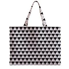 Diamond Pattern White Black Zipper Mini Tote Bag by Cveti