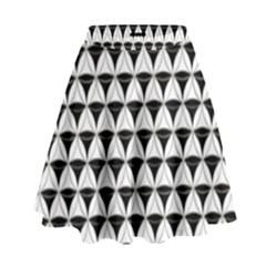 Diamond Pattern White Black High Waist Skirt by Cveti